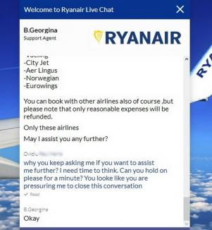 Nu vă lăsaţi la Ryanair! Un orădean care avea bilete spre Londra a obţinut cu greu noi rezervări