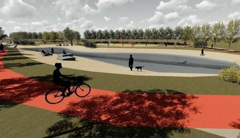 Începe amenajarea parcului Grigorescu din Oradea, cu teren de sport şi pontoane pe pârâul Adona (FOTO)