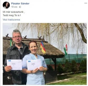 Cu steagu-n curte: Preşedintele CJ, Pasztor Sandor, mândru că a votat prin corespondenţă pentru Parlamentul Ungariei