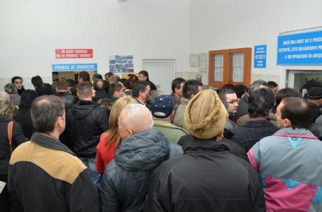 Isteria continuă: În prima zi lucrătoare din 2013, peste 1.000 de bihoreni s-au înghesuit să-şi schimbe permisele