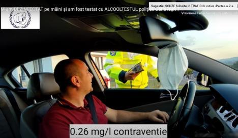 Dezinfectantul te poate lăsa fără permis! O dovedeşte chiar un poliţist din Bihor (VIDEO)