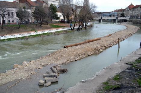 Stâlpii Vagó iau apă: Piese vechi de un secol, abandonate în albia Crişului (FOTO)