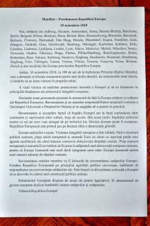 S-a proclamat Republica Europa şi la Oradea. La eveniment au participat mai puţin de 30 de orădeni (FOTO/VIDEO)