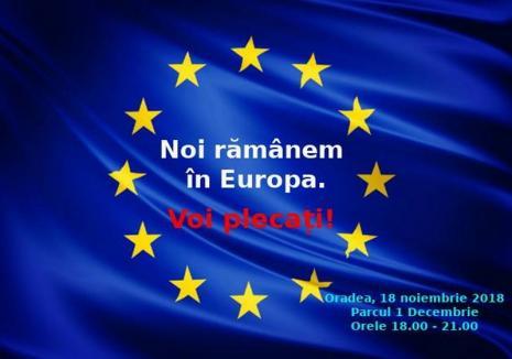 Se anunţă un nou protest anti guvernanţi, duminică, în Oradea: 'Noi rămânem în Europa. Voi plecaţi de la guvernare'