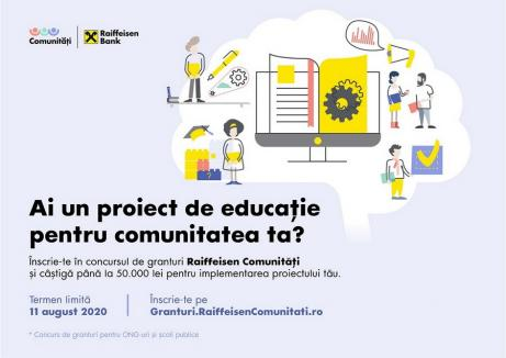 Inițiativele de bine prind viață prin programul Raiffeisen Comunități. ONG-urile și școlile publice pot aplica pentru granturi în valoare de 50.000 lei