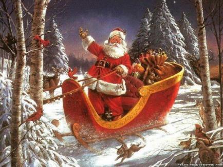 Moş Crăciun soseşte dimineaţă cu trenul