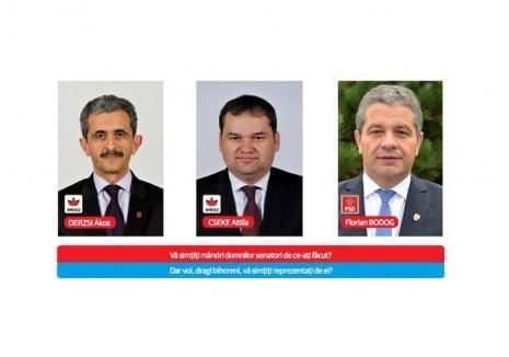 """Cseke, Derzsi şi Bodog – cei trei senatori bihoreni ruşinaţi de USR pentru """"modificările dezastruoase"""" ale legilor justiţiei şi legii ANI"""