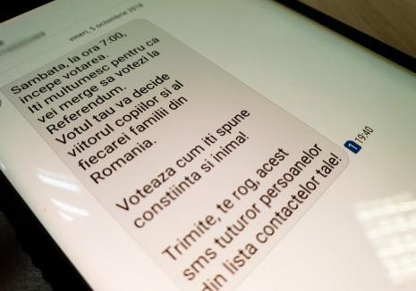 """S-a pornit """"reţeaua"""": Orădenii, îndemnaţi prin SMS-uri să voteze la referendumul """"pentru familie"""""""