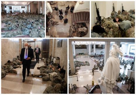 Imagini incredibile din Congresul SUA: soldaţi care dorm pe jos şi arme sprijinite de pereţi, în ziua în care A FOST VOTATĂ demiterea lui Trump (FOTO / VIDEO)