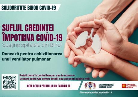 Episcopia Ortodoxă îndeamnă credincioșii să doneze pentru achiziţia unui ventilator pulmonar necesar bolnavilor de COVID-19