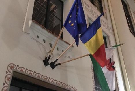 Poliţia a deschis dosar penal pentru distrugerea steagului de la sediul UDMR Bihor, care a mai fost vandalizat de trei ori în acest an