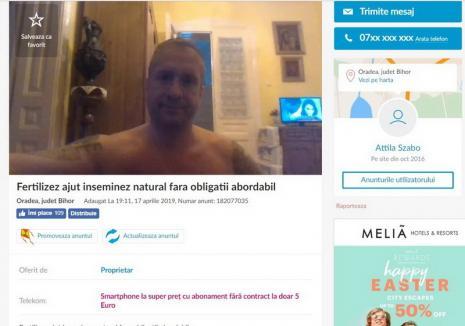 """Anunț pe OLX: Un bărbat din Oradea, condamnat pe vremuri pentru trafic de minori, oferă femeilor servicii de """"fertilizare şi inseminare naturală"""""""
