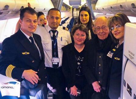 Compania Tarom i-a făcut cadou filosofului Mihai Șora un abonament viager, valabil pe zborurile companiei