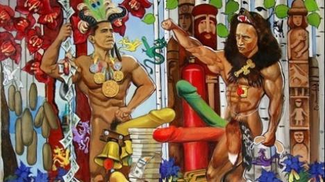 Putin şi Obama se bat în penisuri (FOTO)