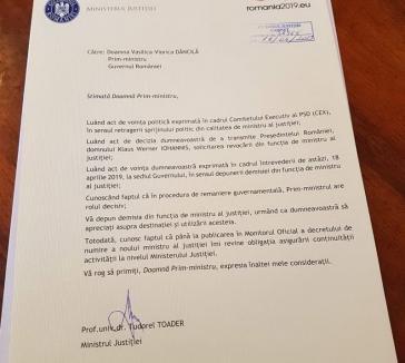 Tudorel Toader şi-a dat demisia. A postat documentul pe Facebook