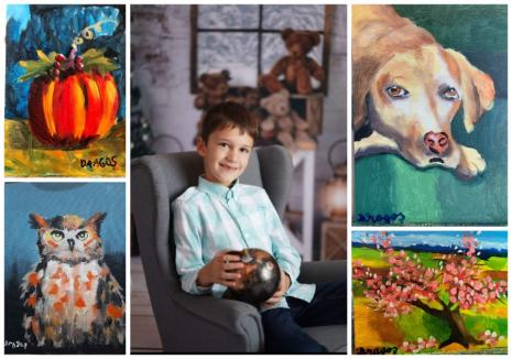 """Expoziţie de pictură: """"Visuri colorate"""" sau lumea văzută prin ochii unui copil de 8 ani din Oradea (FOTO)"""