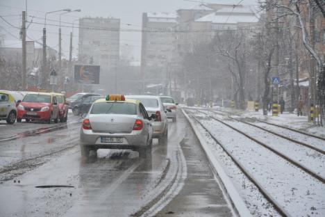 Ninsoare de mărţişor: RER lucrează la capacitate maximă pentru curăţarea Oradiei (FOTO)