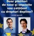Judecătorul Cristi Danileţ şi fostul ministru tehnocrat al Sănătăţii, Vlad Voiculescu, la o dezbatere organizată de Oradea Civică