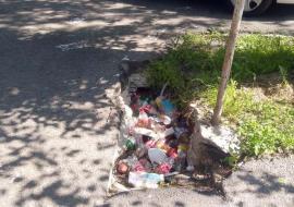 Groapa PET-urilor: O groapă din trotuar sub ochii primăriei, 'asfaltată' cu flacoane