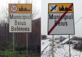 Belényes ca hoţii: În Beiuș au apărut și dispărut, peste noapte, plăcuțe bilingve cu numele orașului