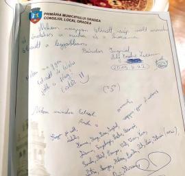 Stimă… suedeză: Mesajul 'pestriţ' anti PSD scris în cartea de onoare a Oradiei