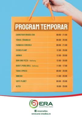 Program de funcționare provizoriu ERA Park Oradea -Actualizare