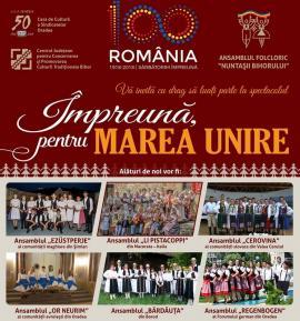 'Împreună pentru Marea Unire': Spectacol cu mai multe ansambluri folclorice, la Casa de Cultură a Sindicatelor