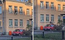Evadare ca în filme: a sărit de la etajul unei secţii de poliţie cu caloriferul în braţe (VIDEO)