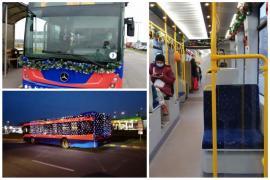 Un tramvai și un autobuz OTL au fost decorate de sărbători (FOTO)