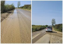 Ne enervează: Camioane încărcate cu balast umplu de noroi şi praf un drum din apropierea Oradiei (FOTO)