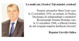 Deputatul Găvrilă Ghilea: La mulţi ani, Oradea! Fiţi mândri, orădeni!