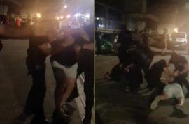 Scandal în centrul Oradiei: Doi tineri, încătuşaţi şi ridicaţi de mascaţi de la o terasă de pe Alecsandri, deschisă după miezul nopţii (VIDEO)