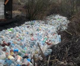 Râu de gunoaie: PET-urile curg la vale, într-un sat din Bihor (FOTO)