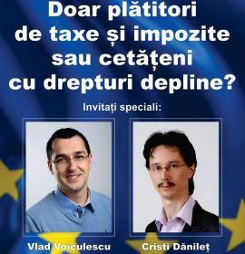 Vlad Voiculescu și Cristi Danileț, într-o dezbatere la Oradea